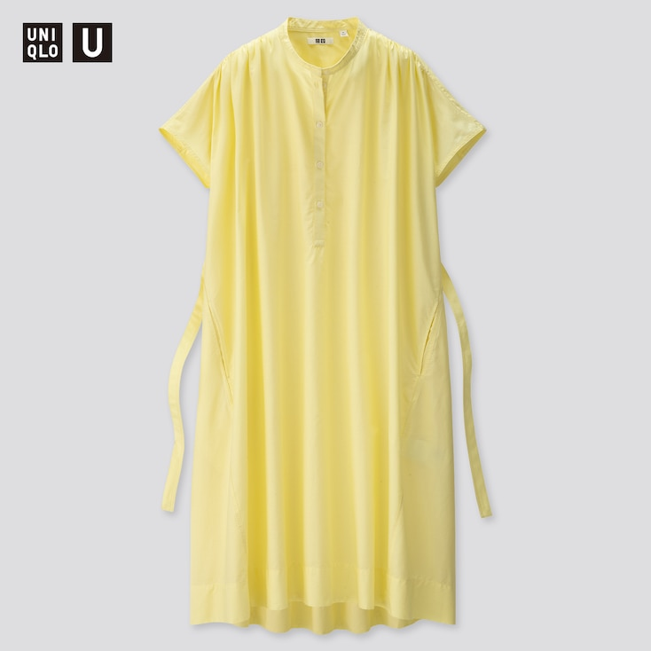 Women U Parachute Short-Sleeve Shirt Dress, Yellow, Large