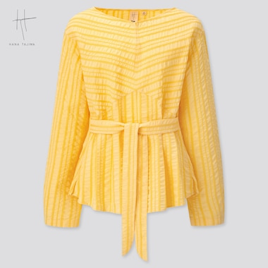 Women Cotton Dobby Long-Sleeve Blouse (Hana Tajima) (Online Exclusive), Yellow, Medium