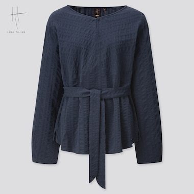 Women Cotton Dobby Long-Sleeve Blouse (Hana Tajima) (Online Exclusive), Navy, Medium