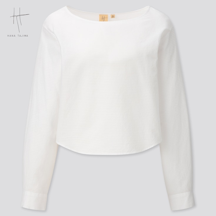 Women Cotton Dobby Long-Sleeve Blouse (Hana Tajima) (Online Exclusive), White, Large