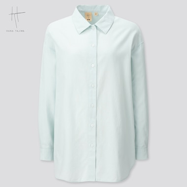 Women Oxford Oversized Long-Sleeve Long Shirt (Hana Tajima) (Online Exclusive), Light Blue, Medium