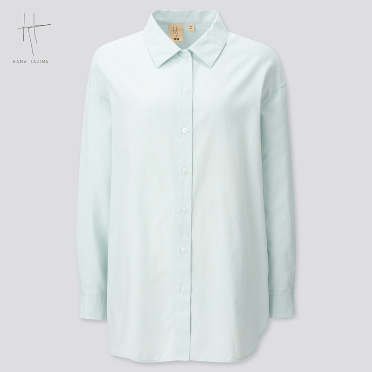Women Oxford Oversized Long-Sleeve Long Shirt (Hana Tajima) (Online Exclusive), Light Blue, Large