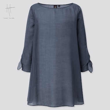 Women Crepe Boat Neck Long-Sleeve Tunic (Hana Tajima) (Online Exclusive), Navy, Medium