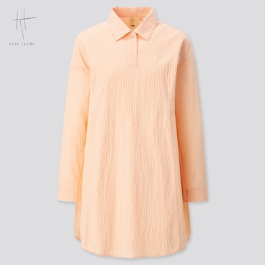 Women Combination Oversized Long-Sleeve Tunic (Hana Tajima) (Online Exclusive), Pink, Medium
