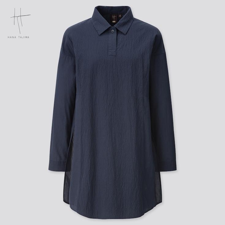 Women Combination Oversized Long-Sleeve Tunic (Hana Tajima) (Online Exclusive), Navy, Large