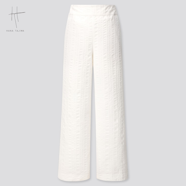 Women Cotton Dobby Wide Pants (Hana Tajima) (Online Exclusive), Off White, Large