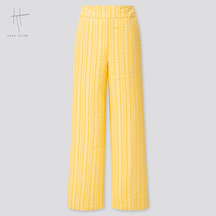 Women Cotton Dobby Wide Pants (Hana Tajima) (Online Exclusive), Yellow, Large