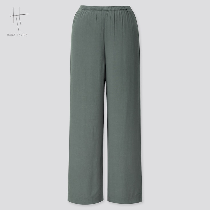 Women Rayon Wide Ankle Pants (Hana Tajima) (Online Exclusive), Green, Large