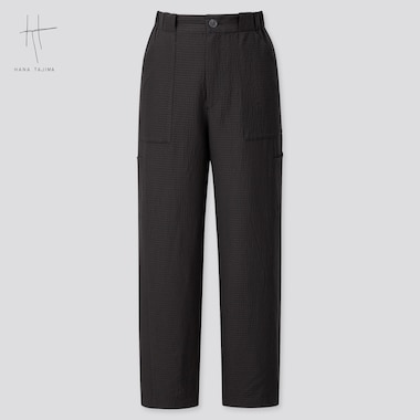 Women Seersucker Tapered Ankle Pants (Hana Tajima) (Online Exclusive), Black, Medium