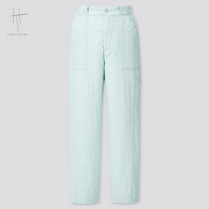 Women Seersucker Tapered Ankle Pants (Hana Tajima) (Online Exclusive), Light Blue, Large