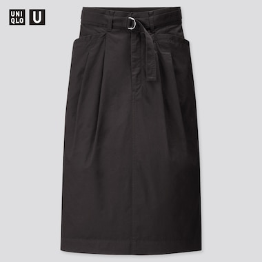 Women U Cotton Twill Belted Skirt, Black, Medium