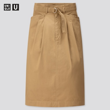 Women U Cotton Twill Belted Skirt, Brown, Medium