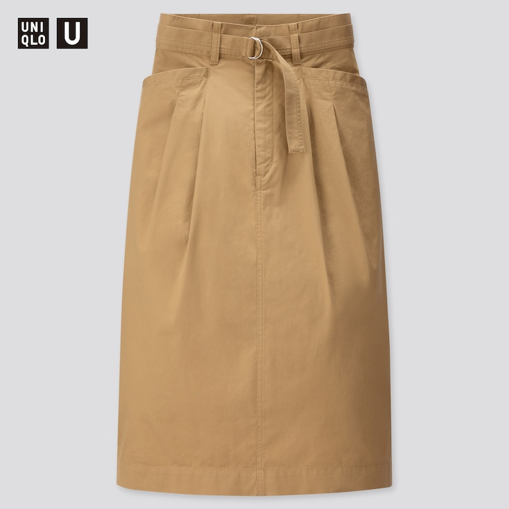 Women U Cotton Twill Belted Skirt, Brown, Large