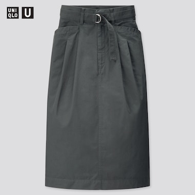 Women U Cotton Twill Belted Skirt, Blue, Medium