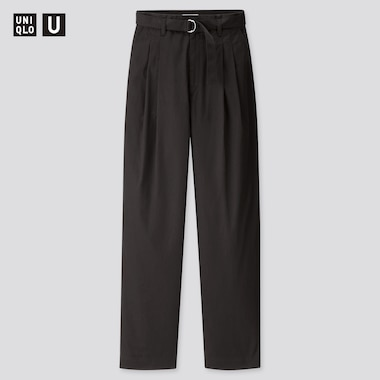 Women U Cotton Twill Tuck Pants, Black, Medium