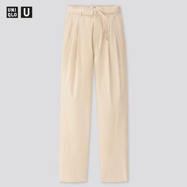 Women U Cotton Twill Tuck Pants, Natural, Medium