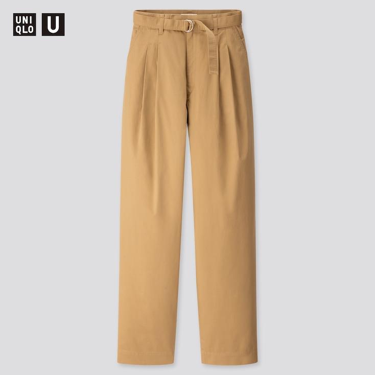 Women U Cotton Twill Tuck Pants, Brown, Large