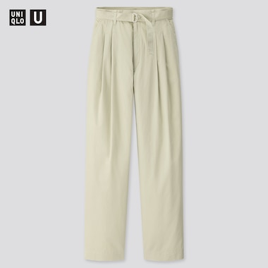Women U Cotton Twill Tuck Pants, Light Green, Medium