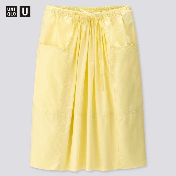Women U Gathered Skirt, Yellow, Large