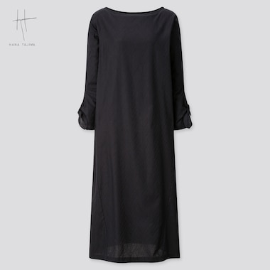 Women Herringbone Long-Sleeve Long Dress (Hana Tajima) (Online Exclusive), Black, Medium
