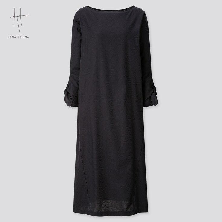 Women Herringbone Long-Sleeve Long Dress (Hana Tajima) (Online Exclusive), Black, Large