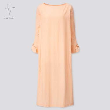 Women Herringbone Long-Sleeve Long Dress (Hana Tajima) (Online Exclusive), Pink, Medium