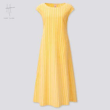 Women Cotton Dobby French Sleeve Long Dress (Hana Tajima) (Online Exclusive), Yellow, Medium