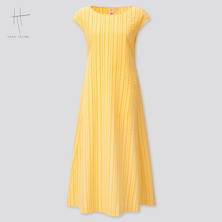 Women Cotton Dobby French Sleeve Long Dress (Hana Tajima) (Online Exclusive), Yellow, Large