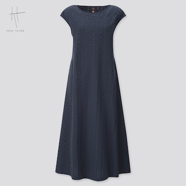 Women Cotton Dobby French Sleeve Long Dress (Hana Tajima) (Online Exclusive), Navy, Medium