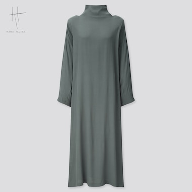 WOMEN HANA TAJIMA RAYON TIE BACK LONG SLEEVED LONG DRESS