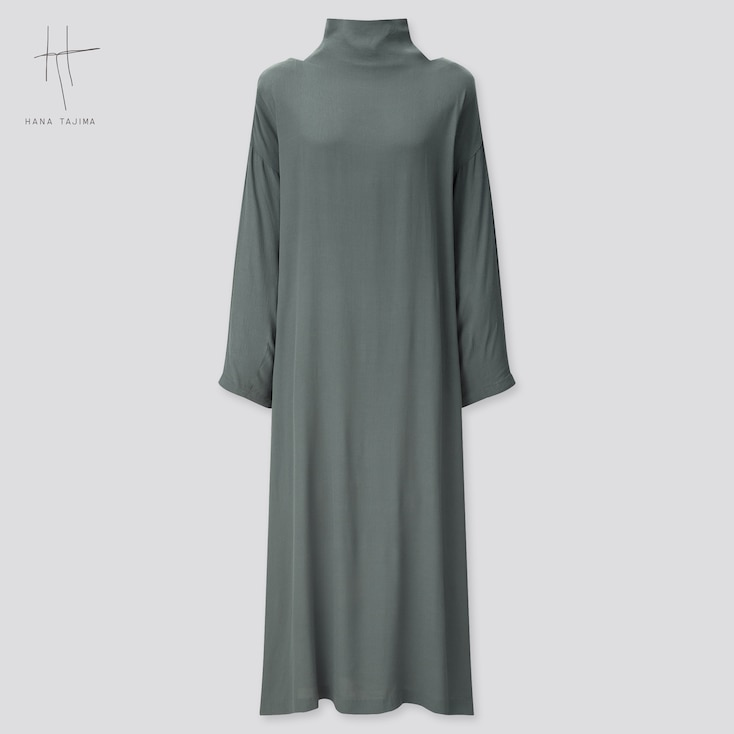 Women Rayon Tie Back Long-Sleeve Long Dress (Hana Tajima) (Online Exclusive), Green, Large