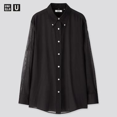 Women U Button Down Long-Sleeve Shirt, Black, Medium
