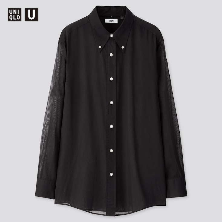 Women U Button Down Long-Sleeve Shirt, Black, Large