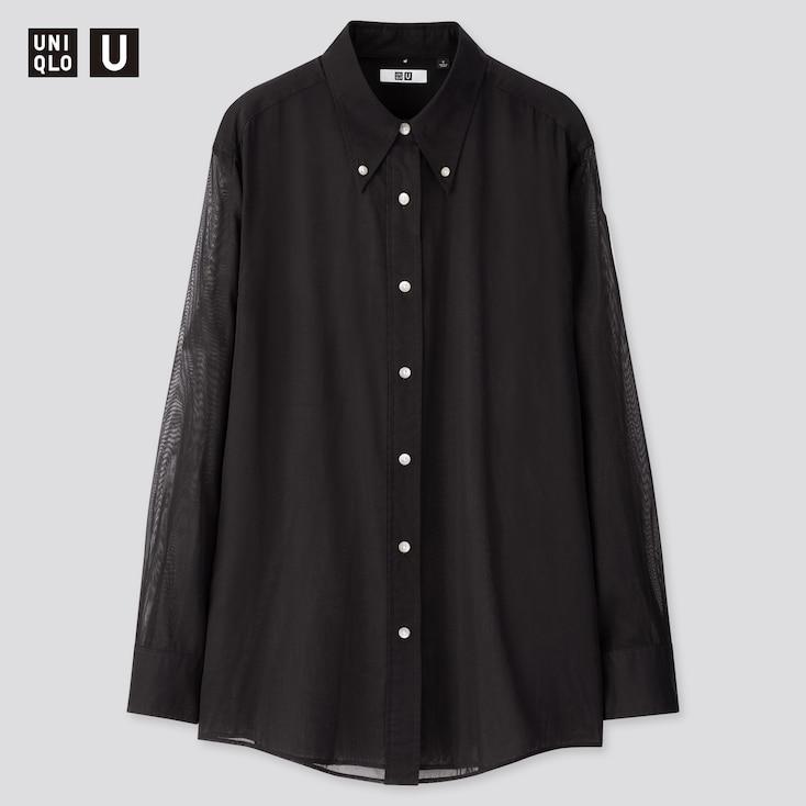 Women U Button Down Long-Sleeve Shirt, Black, Large