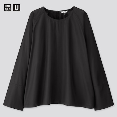 Women U Long-Sleeve T Blouse, Black, Medium