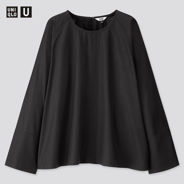 Women U Long-Sleeve T Blouse, Black, Large