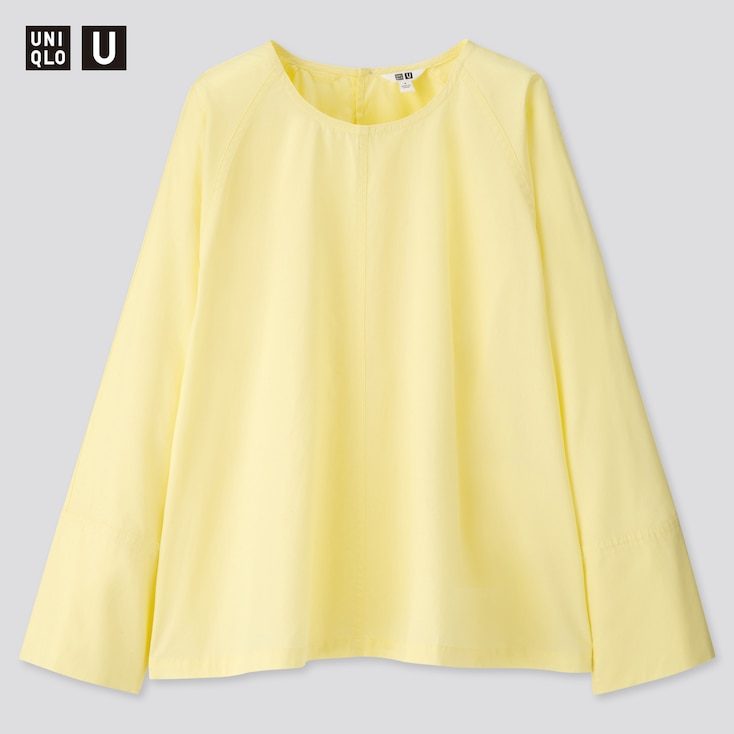 Women U Long-Sleeve T Blouse, Yellow, Large