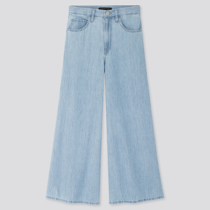 Women High-Rise Super Wide Jeans, Blue, Large