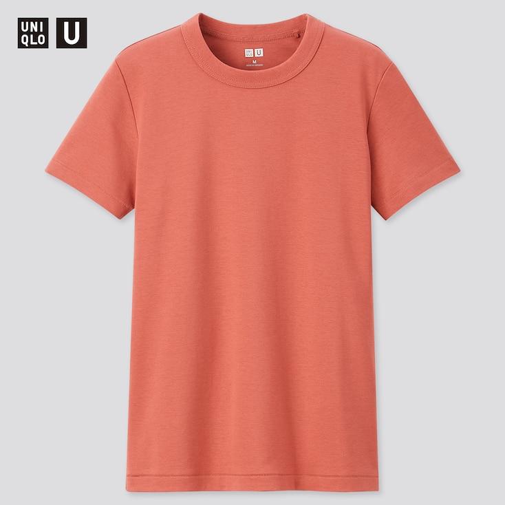 Women U Crew Neck Short-Sleeve T-Shirt, Orange, Large