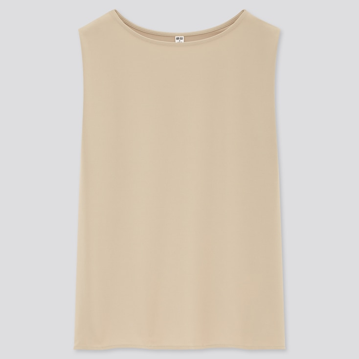 Women Crepe Jersey Sleeveless T-Shirt, Beige, Large