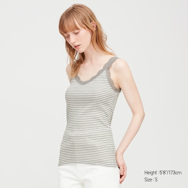 Women 2-Way Ribbed Striped Lace Tank Top, Gray, Medium