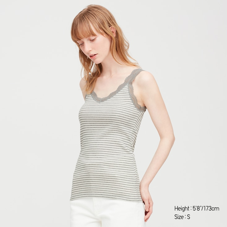 Women 2-Way Ribbed Striped Lace Tank Top, Gray, Large