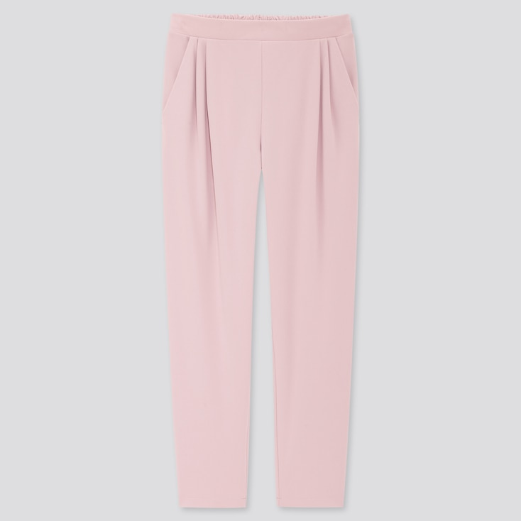 Women Crepe Jersey Tapered Pants, Pink, Large