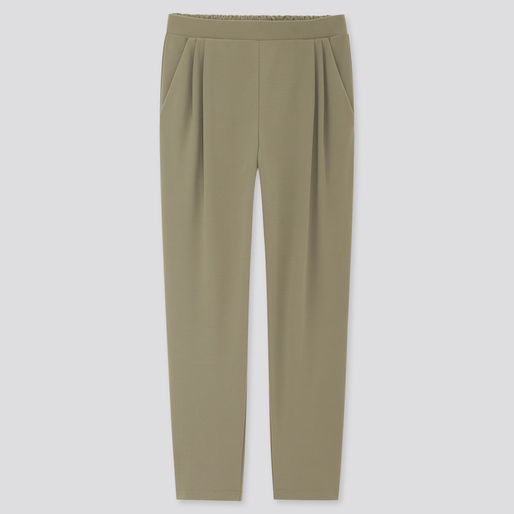 Women Crepe Jersey Tapered Pants, Olive, Large