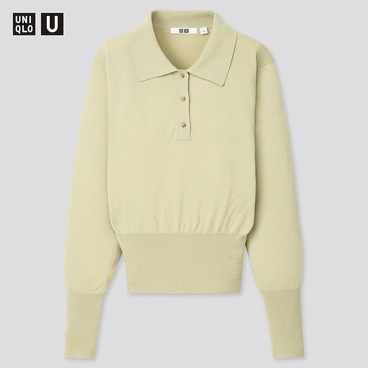 Women U Knitted Polo Sweater, Light Green, Large