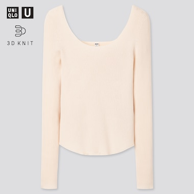 Women U 3d Round Neck Sweater, Off White, Medium