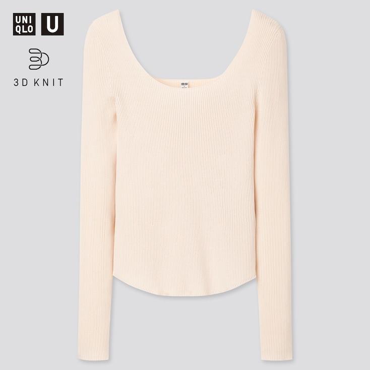 Women U 3d Round Neck Sweater, Off White, Large
