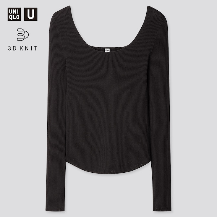 Women U 3d Round Neck Sweater, Black, Large