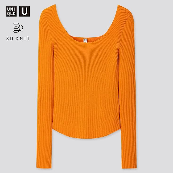 Women U 3d Round Neck Sweater, Orange, Large