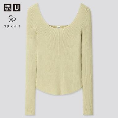 Women U 3d Round Neck Sweater, Light Green, Medium